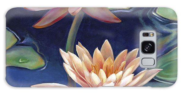 Peachy Pink Nymphaea Water Lilies Galaxy Case by Nancy Tilles