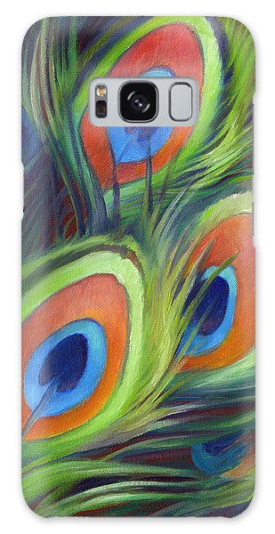 Peacock Feathers Galaxy Case by Nancy Tilles