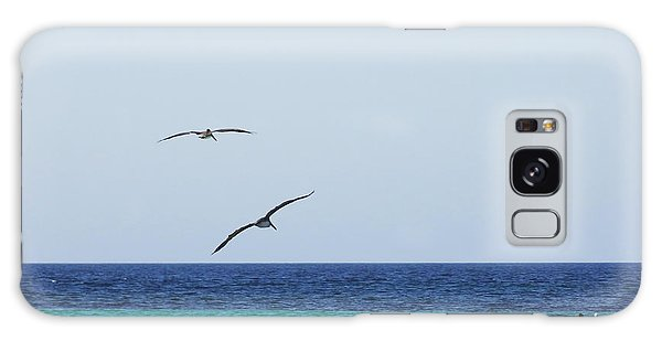 Pelicans In Flight Over Turquoise Blue Water.  Galaxy Case