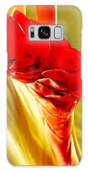 Photograph Of A Red Ginger Flower Galaxy Case