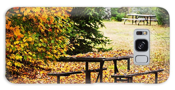 Picnic Table Galaxy Case - Picnic Table With Autumn Leaves by Elena Elisseeva