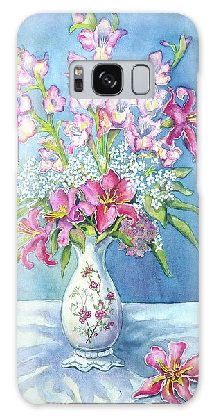 Pink Lillies In A Vase Galaxy Case