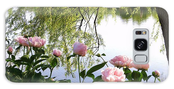 Pink Reflections Peonies Galaxy Case by Rebecca Overton