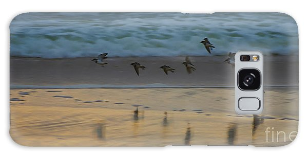 Plovers At Play On A Stormy Morning Galaxy Case