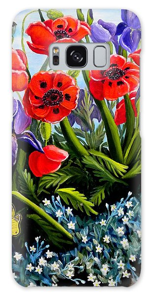 Poppies And Irises Galaxy Case