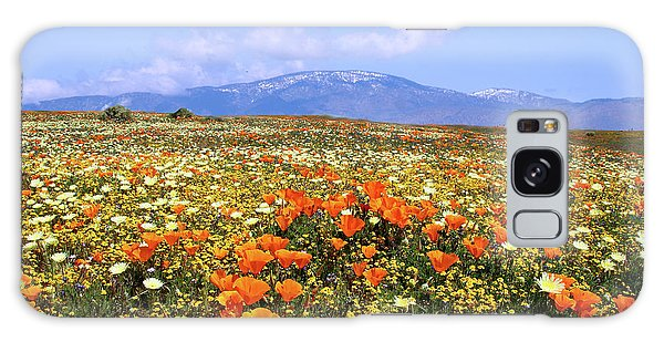 Poppies Over The Mountain Galaxy Case by Peter Tellone