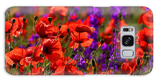 Poppy Field Galaxy Case by Emanuel Tanjala