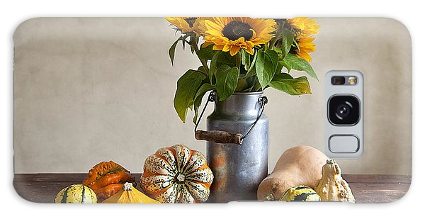 Pumpkin Galaxy S8 Case - Pumpkins And Sunflowers by Nailia Schwarz