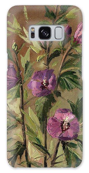 Purple Flowers 2 Galaxy Case by Rachel Hershkovitz