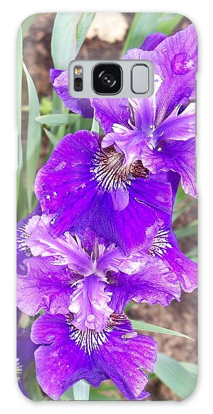 Purple Iris With Water Droplet Galaxy Case