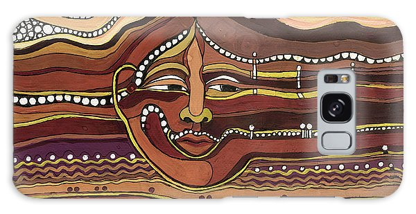 Red Aztec Face In Nature Landscape Abstract Fantasy With Earth Colors Sunset And Skyline Galaxy Case
