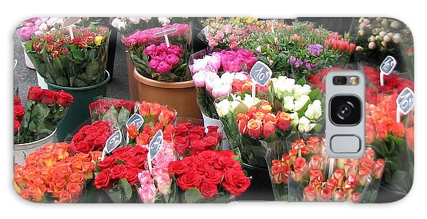 Red Flowers In French Flower Market Galaxy Case by Carla Parris