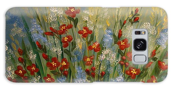 Red Flowers In The Garden Galaxy Case by Leea Baltes