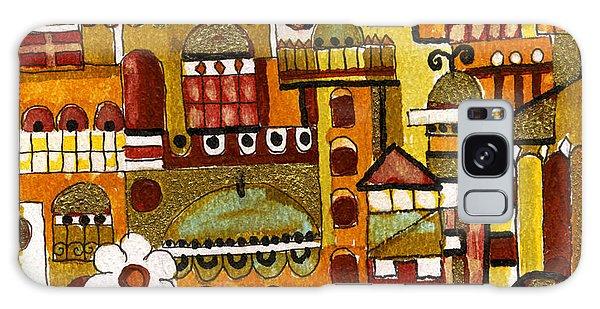 Red Kasba Skyline Landscape Art Of Old Town Dome And Minarett Decorated With Flower Arch In Orange Galaxy Case by Rachel Hershkovitz