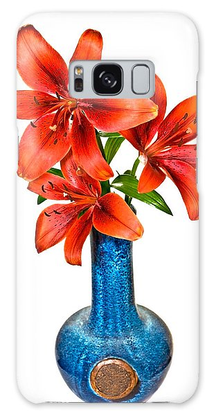 Red Lilies In Blue Vase Galaxy Case