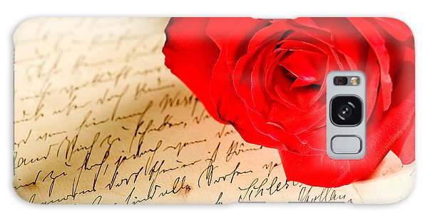 Red Rose Over A Hand Written Letter Galaxy Case