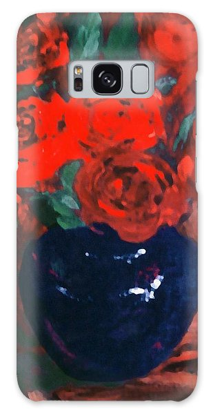 Red Roses Blue Vase Galaxy Case