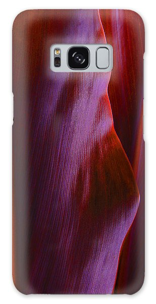 Red Ti Leaves - Natures Abstract Shapes Galaxy Case by Kerri Ligatich