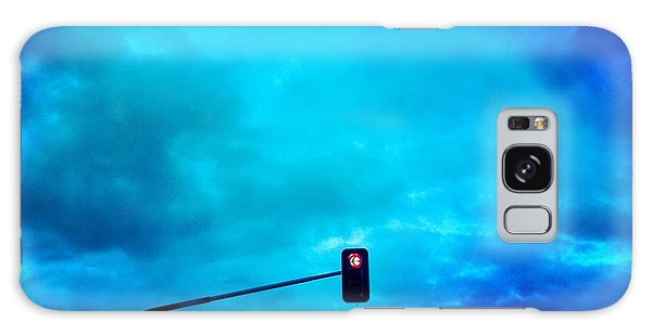 Light Galaxy Case - Red Traffic Light And Cloudy Blue Sky by Matthias Hauser