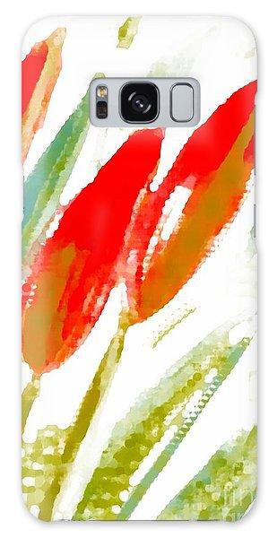 Red Tulips Galaxy Case by Barbara Moignard