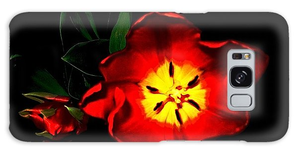 Red Tulips Galaxy Case by Dale   Ford