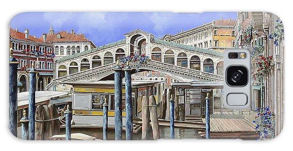 Docked Boats Galaxy Case - Rialto Dal Lato Opposto by Guido Borelli