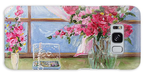 Roses And Pearls Galaxy Case by Jennifer Beaudet