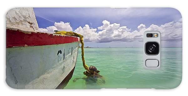 Rustic Fishing Boat Of Aruba Galaxy Case