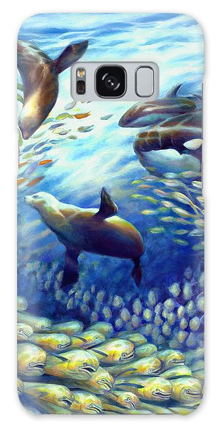 Sailfish Plunders Baitball IIi - Dolphin Fish Seals And Whales Galaxy Case by Nancy Tilles