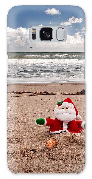 Santa At The Beach Galaxy Case