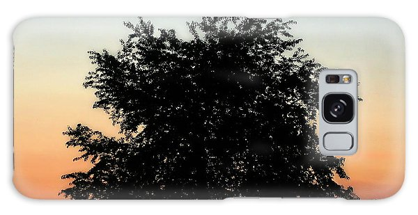 Make People Happy  Square Photograph Of Tree Silhouette Against A Colorful Summer Sky Galaxy Case