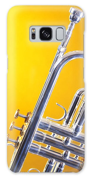 Silver Trumpet Isolated On Yellow Galaxy Case