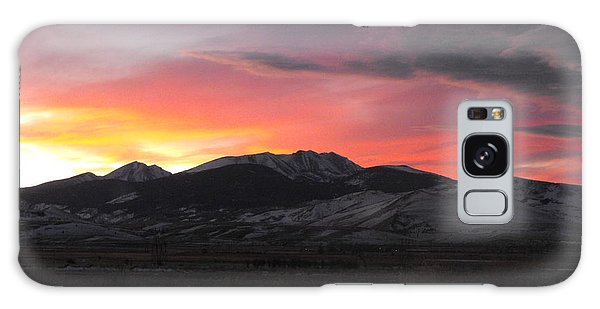 Snow Covered Mountain Sunset Galaxy Case by Adam Cornelison