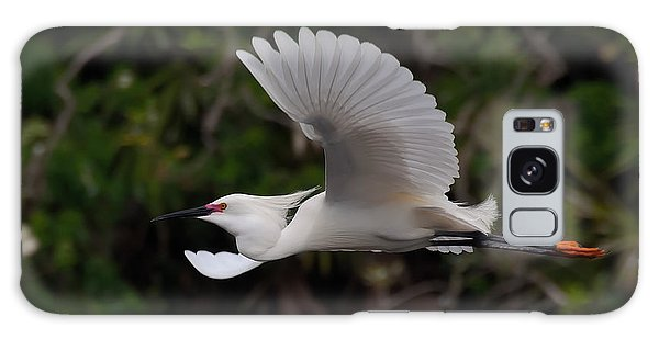Snowy Egret In Flight Galaxy Case