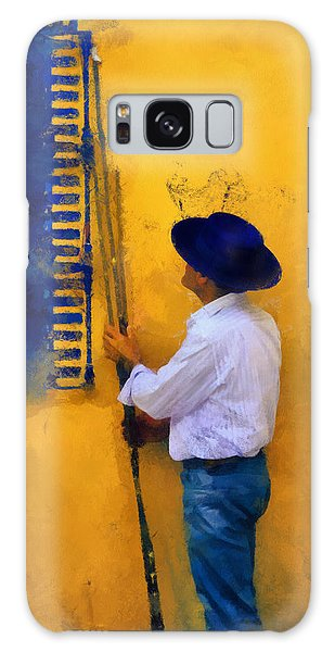 Spanish Man At The Yellow Wall. Impressionism Galaxy Case
