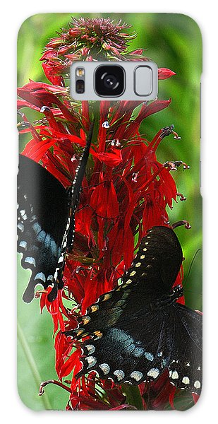 Spicebush Swallowtails Visiting Cardinal Lobelia Din041 Galaxy Case by Gerry Gantt