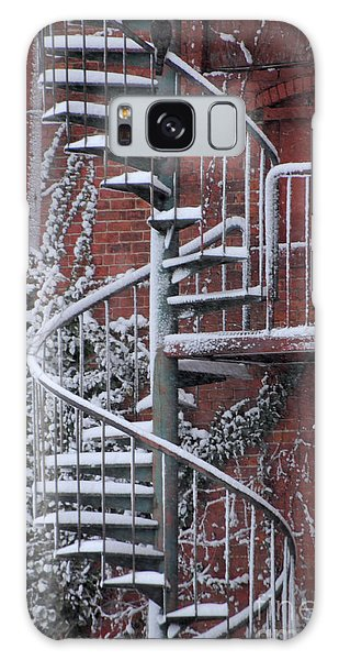 Spiral Staircase With Snow And Cooper's Hawk Galaxy Case