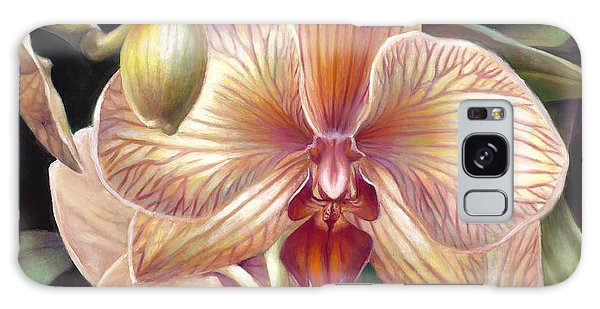Striped Peach Orchid Galaxy Case by Nancy Tilles