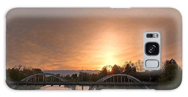 Sunburst Sunset Over Caveman Bridge Galaxy Case