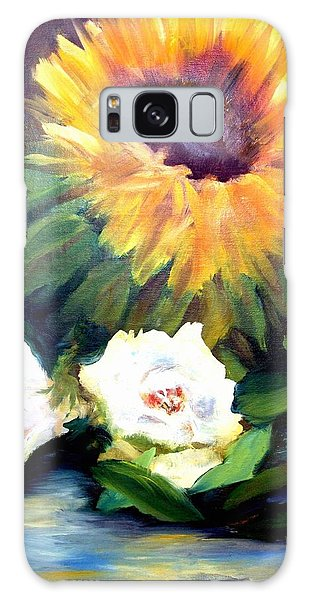 Sunflower And White Roses Galaxy Case
