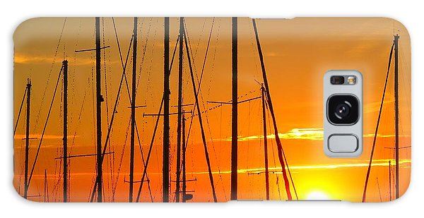 Sunset In A Harbour Digital Photo Painting Galaxy Case by Rogerio Mariani
