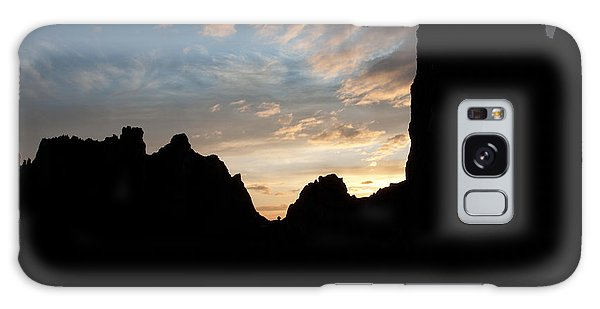 Sunset With Rugged Cliffs In Silhouette Galaxy Case