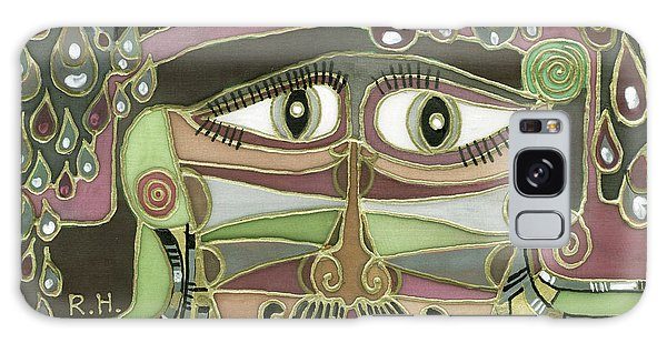 Surprize Drops Surrealistic Green Brown Face With  Liquid Drops Large Eyes Mustache  Galaxy Case