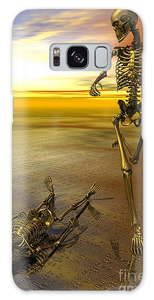 Surreal Skeleton Jogging Past Prone Skeleton With Sunset Galaxy Case