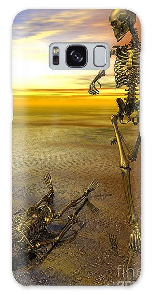 Surreal Skeleton Jogging Past Prone Skeleton With Sunset Galaxy Case by Nicholas Burningham