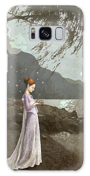 The Lady And The Kitty Antiqued Galaxy Case