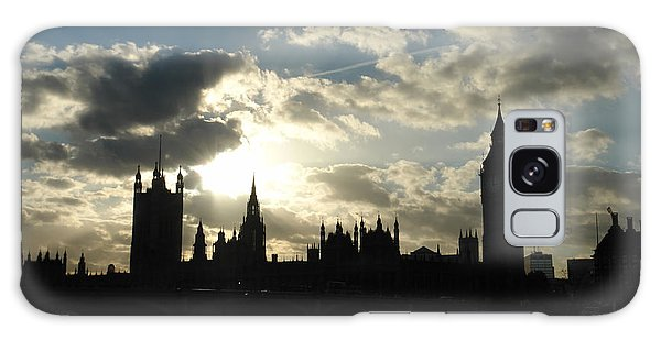 The Outline Of Big Ben And Westminster And Other Buildings At Sunset Galaxy Case