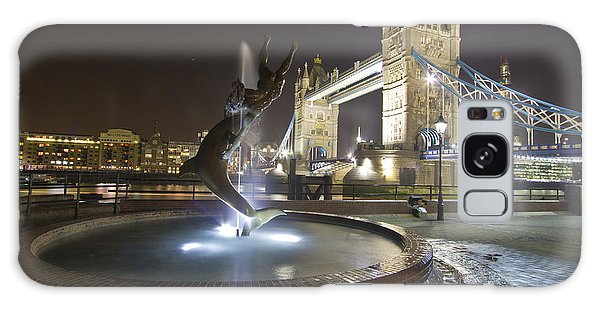 Tower Bridge Girl With A Dolphin Galaxy Case by David French