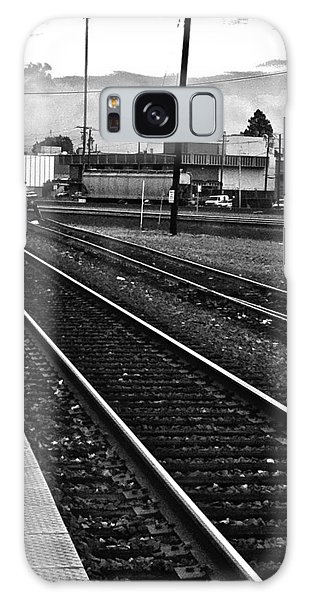 train tracks - Black and White Galaxy Case by Bill Owen