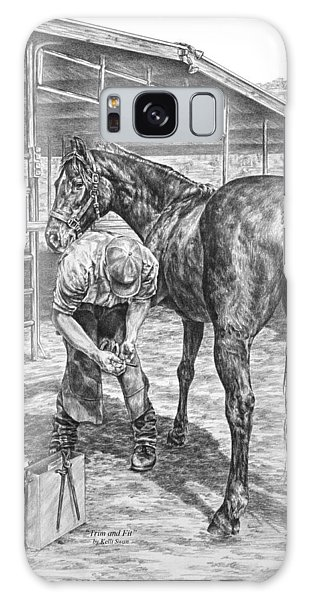 Trim And Fit - Farrier With Horse Art Print Galaxy Case by Kelli Swan